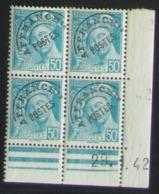 Mercure Préoblitéré En Bloc De 4 Coin Daté - Pas Cher - 1932-39 Peace
