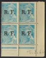 Mercure RF En Bloc De 4 Coin Daté - Pas Cher - 1932-39 Peace
