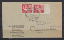 DDR Ausgabe 1.Mai MiNo. 250 Paar Auf 2-seitig Offenem Auslandsbrief SSt Steinbach(Kr. Meiningen) 1950/..Wintersport - [6] Democratic Republic