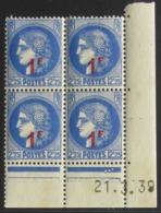 Cérès En Bloc De 4 Coin Daté - Pas Cher - 1932-39 Peace