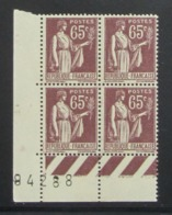 Paix 65 C.en Bloc De 4 CDF - Pas Cher - 1932-39 Peace