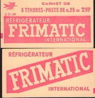 """CARNET 1263-C 1 MARIANNE De DECARIS """"FRIMATIC"""" Série Partiellement Effacée. Etat Correct, Produit Plus Que RARE. - Definitives"""