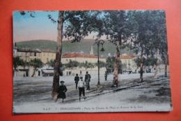 CPA 83 VAR DRAGUIGNAN. Place Du Champ De Mars Et Avenue De La Gare. Colorisé. 1914. - Draguignan