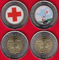 "Panama Set Of 2 Coins: 1 Balboa 2017-2018 ""Red Cross"" Colored UNC - Panama"