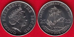 "East Caribbean States 25 Cents 2017 Km#38a ""Boat, Ship"" UNC - Caribe Oriental (Estados Del)"