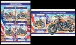 SIERRA LEONE 2018 - Harley Davidson - YT CV=39 €, 7809-12 + BF1410 - Motorbikes