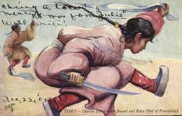 Tibet Thibet, Tibetan Dance With Sword And Kata (1905) Tuck Oilette Postcard - Tibet
