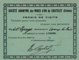 PERMIS DE VISITE- SOCIÉTÉ ANONYME DES MINES D'OR DU CHATELET - Cartes