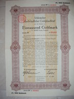 ! Breslau, 1.4.1926 Schlesische Landschaft, Goldpfandbrief 1000 Goldmark, 8% Zinsen, Bond, Emprunt - Sonstige
