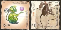 Tonga   2015 Yvertn° 1461-1462 *** MNH Cote 46,00 € Faune Année Du Singe Monkey Apen - Tonga (1970-...)