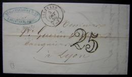 Allevard (Isère) 1850 Lettre Sans Timbre Et Taxée De Charrière & Cie Pour Lyon - 1849-1876: Période Classique