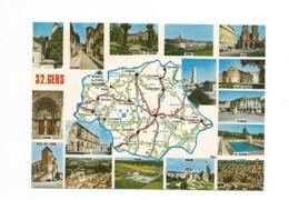 32-Carte Contour Géographique Du Département De GERS - Cartes Géographiques