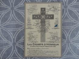 FAIRE PART YSER ARGONNE DARDANELLES SERBIE ARTOIS ALSACE  LES CHAMPS D'HONNEUR  EN 1914 1916 MILITARIA GUERRE 14/18 - Faire-part