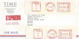 "Hong Kong 1989 Beaconsfield House Meter Hasler ""Mailmaster"" H107 Slogan Time Journal Express Cover - Cartas"