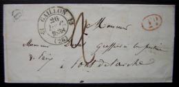 Gaillon (Eure)1838 Lettre Avec Boîte Rurale H Et Décime Rural Rouge (sans Correspondance) - 1801-1848: Precursores XIX