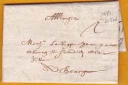 1681 - Marque Manuscrite Sur LAC De Dijon, Côte D'Or Vers Bourg En Bresse, Ain - Règne De Louis XIV - Marcophilie (Lettres)
