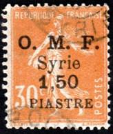 Syrie Obl. N°  85 - Semeuse Surchargée 25 Centièmes Sur 5c Orange - Oblitérés