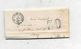 Lettre Cachet Beaumont Le Roger Payé 30 + Rouen - 1849-1876: Période Classique