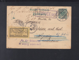 Dt. Reich GSK 1894 Nordhausen Nach Leipzig An Der Uni Unbekannt Retour - Deutschland
