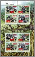 CENTRALAFRICA 2019 MNH WWF Overprint Chimpanzee Schimpanse Chimpanze RED FOIL M/S II - OFFICIAL ISSUE - DH1935 - Monkeys