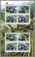 CENTRALAFRICA 2019 MNH WWF Overprint Chimpanzee Schimpanse Chimpanze BLUE FOIL M/S II - OFFICIAL ISSUE - DH1935 - Monkeys