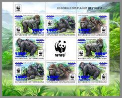 CENTRALAFRICA 2019 MNH WWF Overprint Gorillas BLUE FOIL M/S - OFFICIAL ISSUE - DH1935 - Gorilles