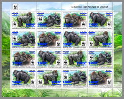 CENTRALAFRICA 2019 MNH WWF Overprint Gorillas BLUE FOIL M/S II - OFFICIAL ISSUE - DH1935 - Gorilles