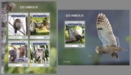 DJIBOUTI 2019 MNH Owls Eulen Hiboux M/S+S/S - OFFICIAL ISSUE - DH1935 - Eulenvögel