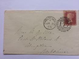 GB Victoria 1866 Cover Cheltenham To Abingdonwith Additional Whincombe Postmark With 1d Red Plate 93 - 1840-1901 (Victoria)