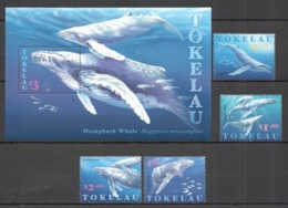 W506 1997 TOKELAU FAUNA MARINE LIFE HUMPBACK WHALE #244-47 SET+BL MNH - Whales