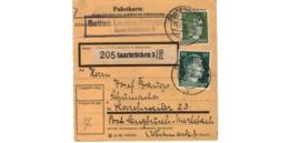 Allemagne  - Colis Postal  - Départ Saarbrücken  - Pour Herrchweiler ( Henriville ) Post Sengbusch ( Seingbouse ) - Allemagne