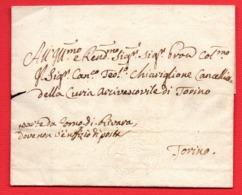 1820 CAVALLINO DI SARDEGNA A SECCO 15 C. -PIEGO FRESCO - MEZZO FOGLIO -DA RIVARA PER TORINO - 1. ...-1850 Vorphilatelie