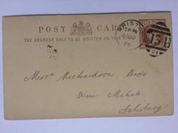 GB Victoria 1898 Postcard Bristol Duplex To Salisbury - `J. Schweppes` - Briefe U. Dokumente