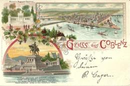 "5151 "" GRUSS AUS COBLENZ ""3 VEDUTE -CART. POSTALE ORIG. SPEDITA 1898 - Saluti Da.../ Gruss Aus..."