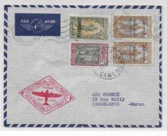1937 - CAMEROUN - ENVELOPPE PREMIER VOYAGE AEROMARITIME AIR FRANCE : CONGO - SENEGAL - MAROC De DOUALA => CASABLANCA - Cameroun (1915-1959)