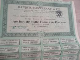 Action 1 000 Francs Au Porteur Banque Castelnau Montpellier 1931 - Banque & Assurance