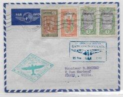 1937 - CAMEROUN - ENVELOPPE PREMIER VOYAGE AEROMARITIME AIR FRANCE : CONGO - SENEGAL - MAROC De DOUALA => PARIS - Premiers Vols