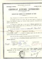 Université De Paris - Certificat études Supérieures Chimie - 1957 - 24 X 32 Cm - Diplômes & Bulletins Scolaires