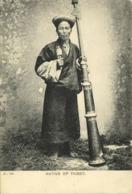 Tibet Thibet, Native Man With Praying Wheel And Tibetan Horn (1899) Postcard - Tibet