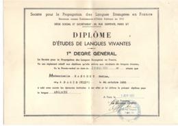 Diplôme études Langues Vivantes - Société Pour Propagation Langues étrangères En France - 1951 - Diplômes & Bulletins Scolaires
