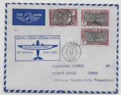1937 - TOGO - ENVELOPPE PREMIER VOYAGE AEROMARITIME AIR FRANCE : SENEGAL - CONGO De LOME => POINTE NOIRE - Briefe U. Dokumente