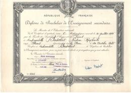 Diplôme Bachelier Bac - Paris 1955 - 24 X 32 Cm - Diplômes & Bulletins Scolaires