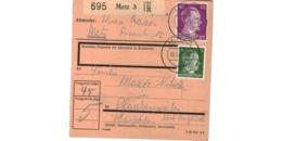 Allemagne  - Colis Postal  - Départ Metz  -   Pour Pfarebersweiler   ( Farébersviller )  -  10-3-43 - Allemagne
