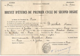 Diplôme BEPC Brevet D'études - Paris 1950 - 36 X 26 Cm - Diplômes & Bulletins Scolaires