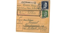 Allemagne  - Colis Postal  - Départ Offenbach  ( Main )   -   Pour Pfarebersweiler   ( Farébersviller )  -  20-3-43 - Alemania