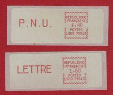 2 Vignettes D'affranchissement PNU Et LETTRE Machine LS09-75513 - 1981-84 LS & LSA Prototypes