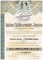 Titre Ancien - Anciens Etablissements Janssen - Chaussures Luxor - Titre De 1927 -  N° 00094 - Déco - Actions & Titres