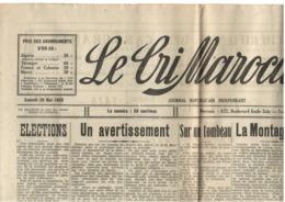 Le Cri Marocain - Casablanca - 20.05.1933 - Affrontement Juifs Vs Arabes à Casa Et Rabat - Hebdo - Giornali