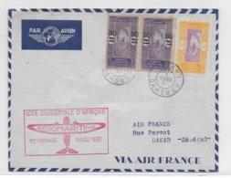 1937 - DAHOMEY - ENVELOPPE 1° VOYAGE AEROMARITIME COTE OCCIDENTALE D'AFRIQUE De COTONOU => DAKAR - Dahomey (1899-1944)