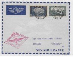 1937 - MAROC - ENVELOPPE 1° VOYAGE AEROMARITIME COTE OCCIDENTALE D'AFRIQUE AIR FRANCE De CASABLANCA => COTONOU - Morocco (1891-1956)